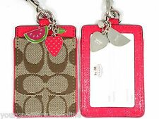 NWT Coach ID Badge Lanyard Fruit Charms Leather Card Holder Pink/Khaki  F 63554