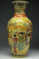 Delicate chinese Old Famille Rose porcelain Hand Painting Belle vase NRR