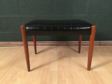 Retro Vintage Mid Century Black Vinyl Teak Dressing Table Stool Seat