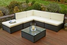 Poly Rattan Garden Patio Outdoor Furniture Sofa Lounge Set Table Black Lagento