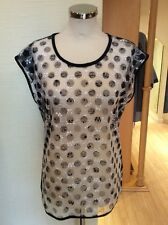 Betty Barclay Top Size 20 BNWT Black White Sheer Floral Front RRP £50 NOW £23