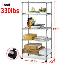 5 Shelf Chrome Steel Wire Shelving 30 by 14 by 59-Inch Storage Rack W/Wheels