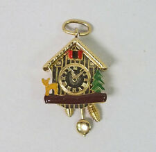 Vintage Motion Cuckoo Clock 18k Yellow Gold Enamel Charm Pendant