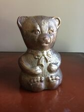 Vintage Solid Brass Teddy Bear Bank 5 1/2""