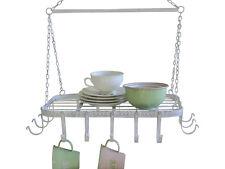 Antico Chic Style bianco metallo da appendere cucina francese Rack Saucepan SOFFITTO GANCIO