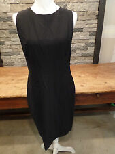Narciso Rodriguez Dress Solid Fitted Sleeveless Full Back Zip Black Sz 48 $1895