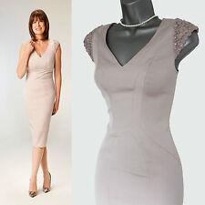 COAST Nude Shoulder Detail Zip On The Back Formal Tailored Dress UK 8  EU 36