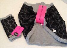 NWT Betsey Johnson Knit Lacey Gloves Blk/GRAY Texting Gloves & Infinity Scarf