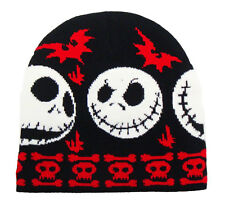 NIGHTMARE BEFORE CHRISTMAS beanie hat BLACK/RED goth/Jack Skellington/boys/skull