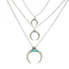 Retro Gold Silver Plated Crescent Moon Gem Pendants Multi Layered Necklace