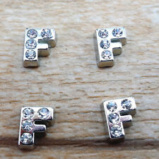 NEW HOT 4PCS letter F crystal Floating Charm for Glass Living Memory Locket PF1