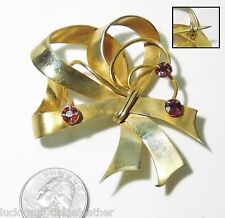 """Very Old Vtg Pin/Brooch, Large Gold Plate Loop Bow w/Swirls & Red Garnets 2.75"""""""