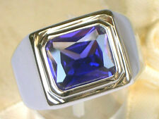 11X9 mm February Amethyst CZ Birthstone Men's Solitaire Rhodium Ring Size 10