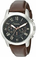 BRAND NEW Men's FS4813 Fossil Grant Chronograph Leather Band Watch FS4813