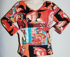 ORANGE PICASSO KNIT TOP Sz XL Artistic Images & BEADED V-Neck 3/4-Sleeves