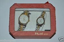 WOW Nice Unused Acuet Japan Vintage His & Hers Wrist Watches w/ Box Rare