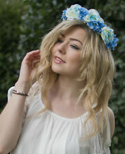 Light Blue Rose Hydrangea Flower Hair Crown Garland Headband Festival Boho V07