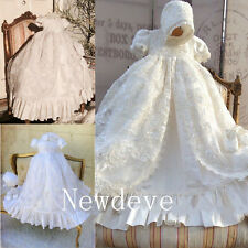 New Bling Lolita Robe Baby Baptism Dresses Christening Gowns Lace Beading Bonnet