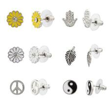 Lux Hamsa Yin Yang Leaf Sunflower Peace Sign Floral Flower Stud Earrings Set