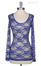 Women's Floral Lace Top Round Neck Long Sleeve Layering Shirt Stretchable S-1XL