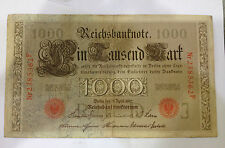 Reichsbanknote Imperial Germany 1000 mark 1910(ignored the shadow in photo)