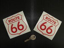 2x stickers auto Route 66 90mm Rouge USA road decals pegatinas aufkleber B27-027