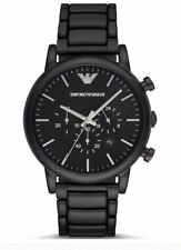 *NEW* EMPORIO ARMANI LUIGI WATCH AR1895 - MENS BLACK IP CHRONO -2 YEARS WARRANTY