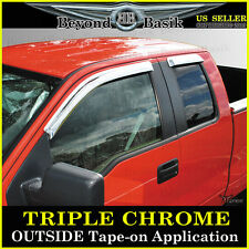 09-14 F150 Extended Cab SuperCab 4 Door Chrome Window Visors Side Rain Guards