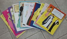 11 Tom Tierney Paper Doll Books Uncut Dior Jackie O Chanel Art Deco Designers