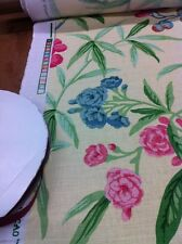 A.L.DIAMENT & CO YELLOW LINEN ASIAN FLORAL UK HAND PRINT FABRIC 8YDS avail OMG