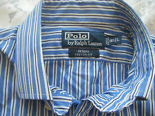 "RALPH LAUREN BLUE,WHITE AND BLACK STRIPE SHIRT 16.5"" COLLAR L LARGE"