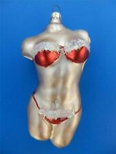 FEMALE TORSO HUMAN BODY CHRISTMAS BIKINI GERMAN BLOWN GLASS ORNAMENT