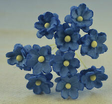 50 ROYAL BLUE CHERRY BLOSSOM Mulberry Paper Flowers wedding miniature card