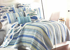 5-pc ☆ TROPICAL FISH ☆ King Quilt Set Striped Catalina Beach House Coastal Blue