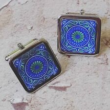 Unique! DECORATIVE SPANISH TILE CUFFLINKS blue green MOROCCO spain WEDDING groom
