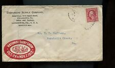 US Farm Related Advertising Cover (Dairymens Supply Co) 1912 Lansdowne, Pa