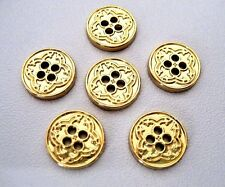 lot of 6, 11mm  Metal gold clover patterned 4 Holes Buttons, shirt, blouse, top.