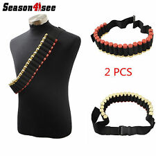 2X Airsoft Hunting Shotgun Shell Bandolier Waist Shoulder Belt Strip Ammo Holder