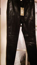 River Island stretch leather front cotton/elastane back snake trousers leggings