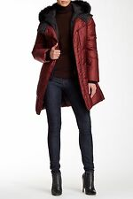 $585 Soia & Kyo Genuine Fox Fur Trim Hooded Bib Down Coat Puffer S OXBLOOD