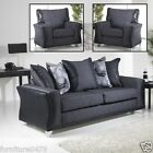 Grey Black Fabric Material 3 Seater 2 Seater Chair Sofa Suite WAVERY