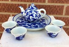 6 PC CHILDERNS OR DOLLS TEA SET BLUE & WHITE With Tray