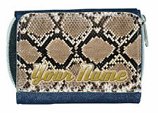 SNAKE SKIN PRINT PERSONALISED LADIES/GIRLS DENIM PURSE/MINI WALLET *NAMED GIFT *