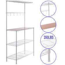 Chrome Bakers Rack with Cutting Board Prep Table  Storage Kitchen Work