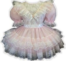 """Millie"" Custom Fit LACY PINK SHEER Adult LG Baby Sissy Dress LEANNE"