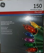 CHRISTMAS MULTI-COLOR LIGHTS 150  MINI LIGHT STRAND GE PRO LINE OUTDOOR NEW UL