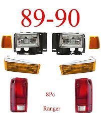 89 90 Ford Ranger 8Pc Head Light Kit W/ Parking, Side Lights & Tail Lights!