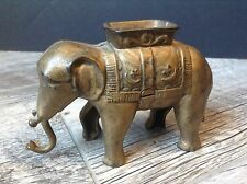 Vintage Cast Iron Bank Elephant with Swinging Trunk A.C. Williams?  Gold Tone
