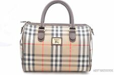 Authentic Burberrys Leather Hand Bag Brown 29099