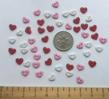 Heart Shaped Tiny 2 Hole Red Pink Novelty Buttons by Dress It Up 8102
